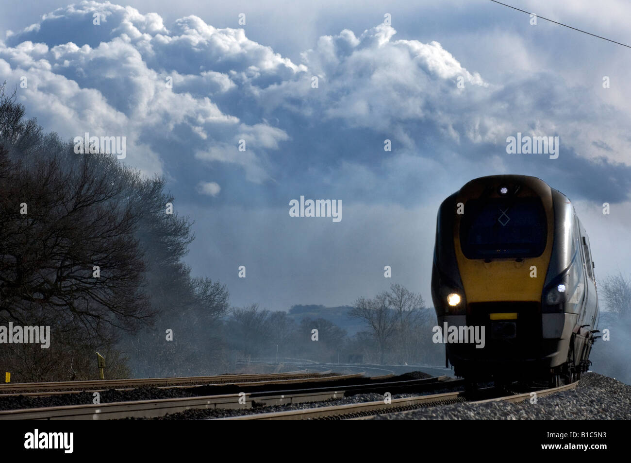 An East Midlands Trains Midland Mainline Class 222 Meridian train at Ratcliffe on Soar Nottinghamshire - Stock Image