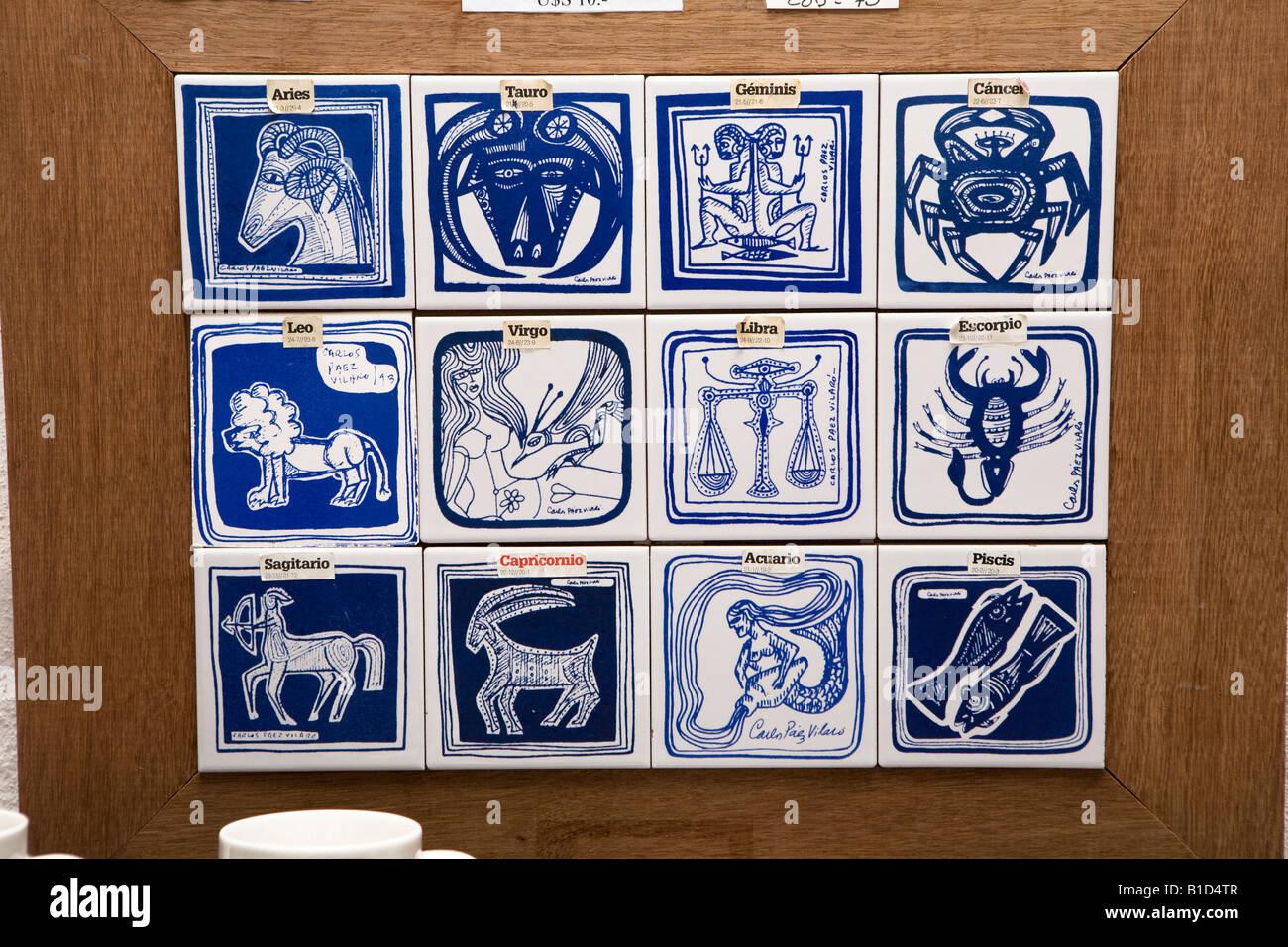 Painted ceramic tiles with zodiac drawings made by uruguayan artist painted ceramic tiles with zodiac drawings made by uruguayan artist carlos paez vilaro in museum casapueblo punta del este dailygadgetfo Image collections