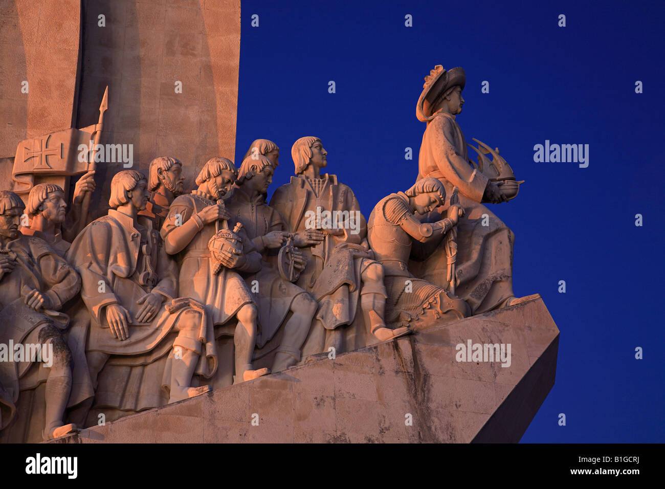 Padrao dos Descobrimentos at night, seafaring memorial, Lisbon, Portugal - Stock Image