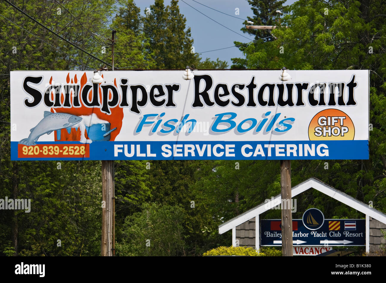 Restaurant Sign Advertising Fish Boil Door County Wisconsin - Stock Image