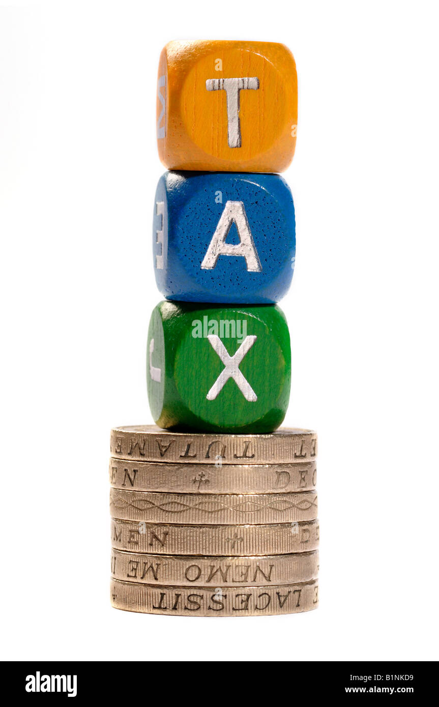 Tax dice and coins concept - Stock Image