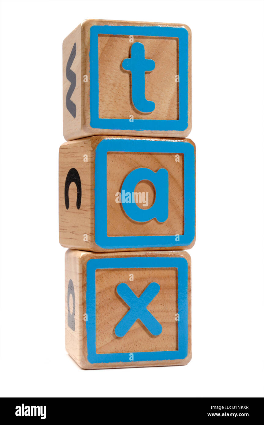 Tax wooden blocks concept - Stock Image