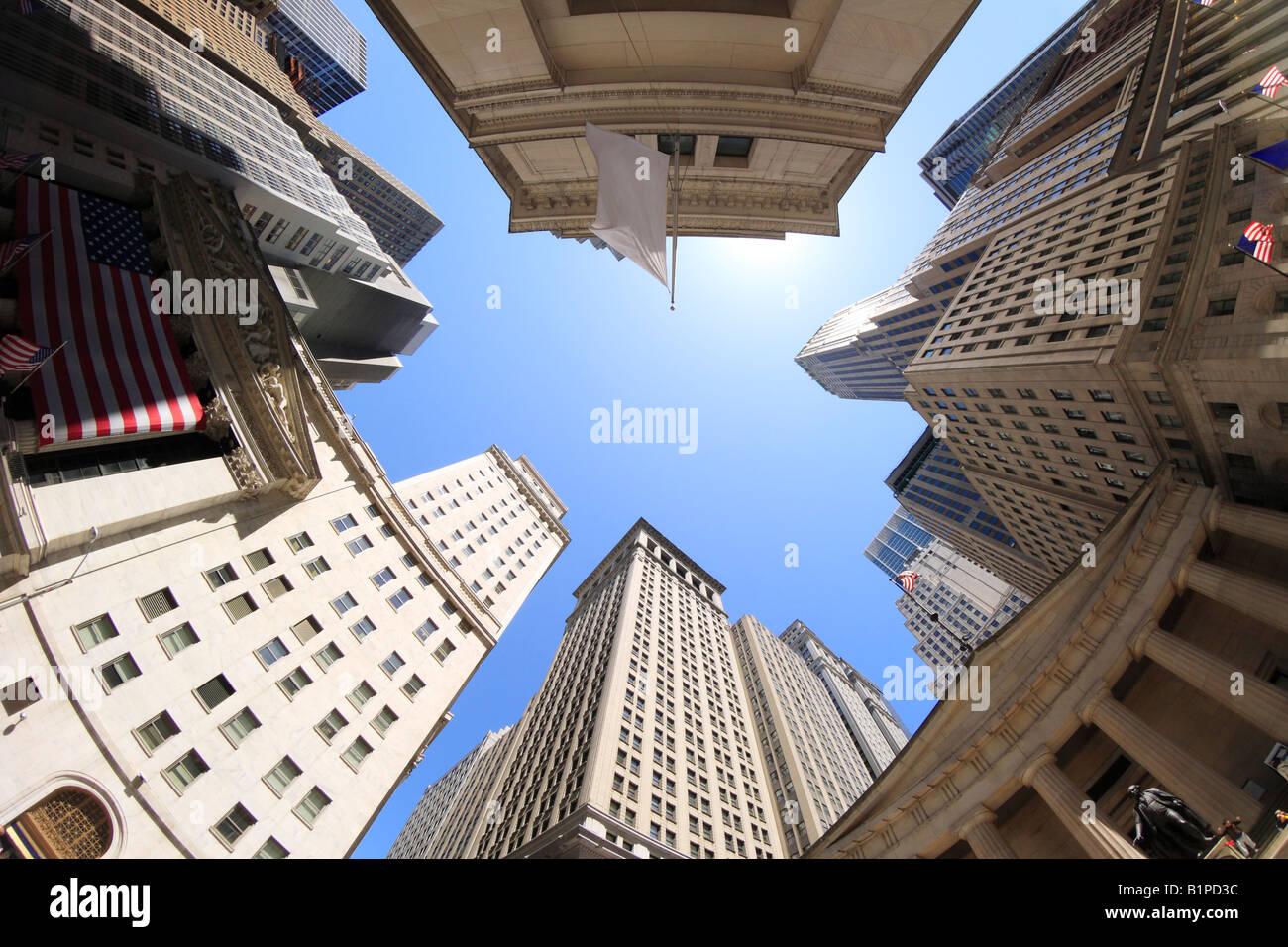 Fisheye view of Wall Street buildings - New York City, USA - Stock Image