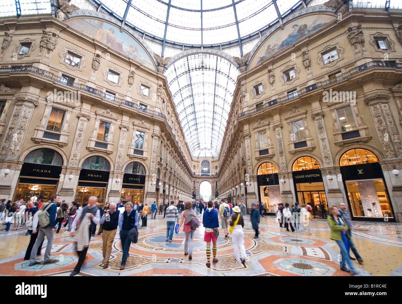 People inside Galleria Vittorio Emanuele 2nd Milan Italy - Stock Image