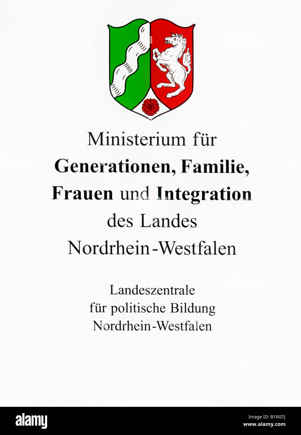 North Rhine-Westphalian Ministry for Intergenerational Affairs, Family, Women and Integration State Institute for - Stock Image