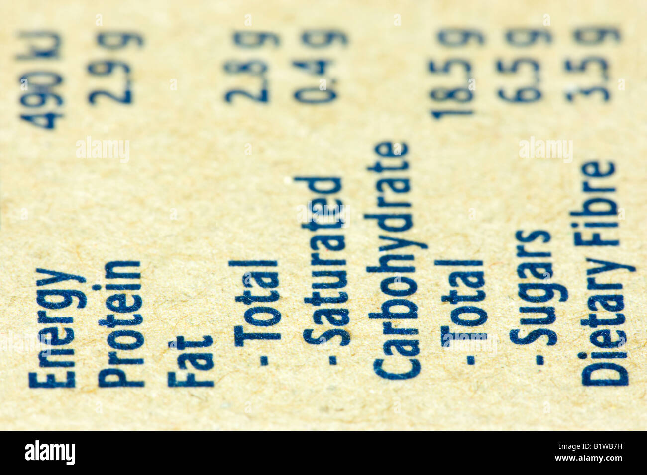 Nutritional Information label of healthy food - Stock Image