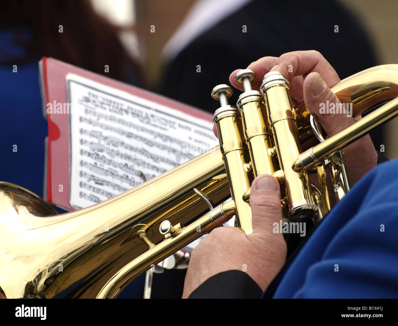 Trumpet being played by a bandsman Stock Photo, Royalty ...