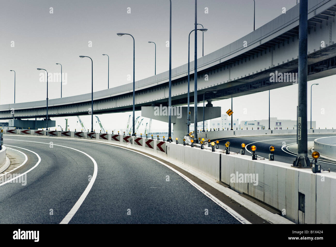 Empty flyover junction - Stock Image