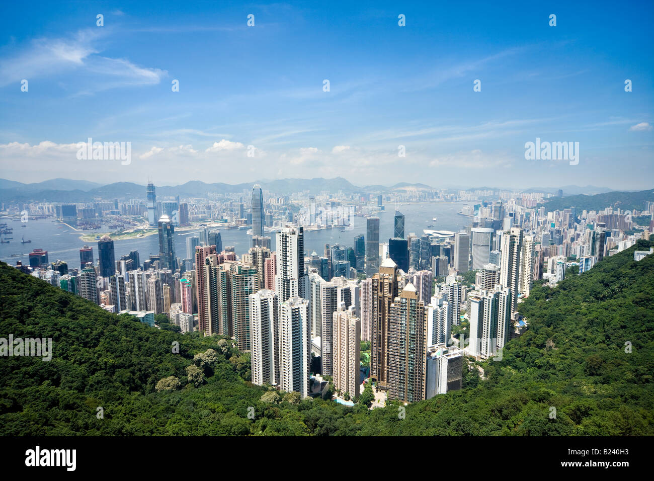 Hong Kong skyline. Panoramic view of Hong Kong and Kowloon from Victoria Peak Tower. Hong Kong, China, SAR, on a - Stock Image