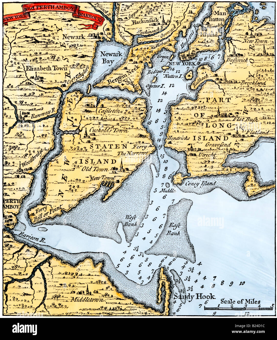 Popples map of New York City and the surrounding area 1733