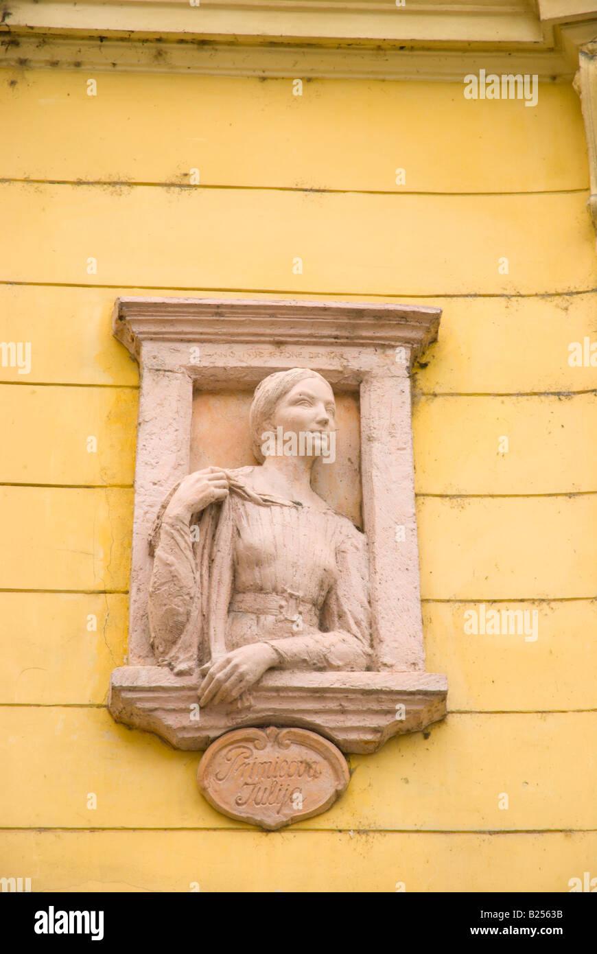Statue of Julija Primic the unrequited love of France Preseren the national poet of Slovenia in Ljubljana Slovenia - Stock Image
