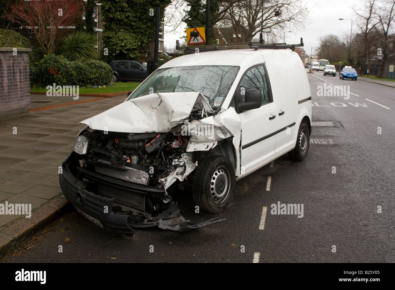 Crashed White Van - Stock Image