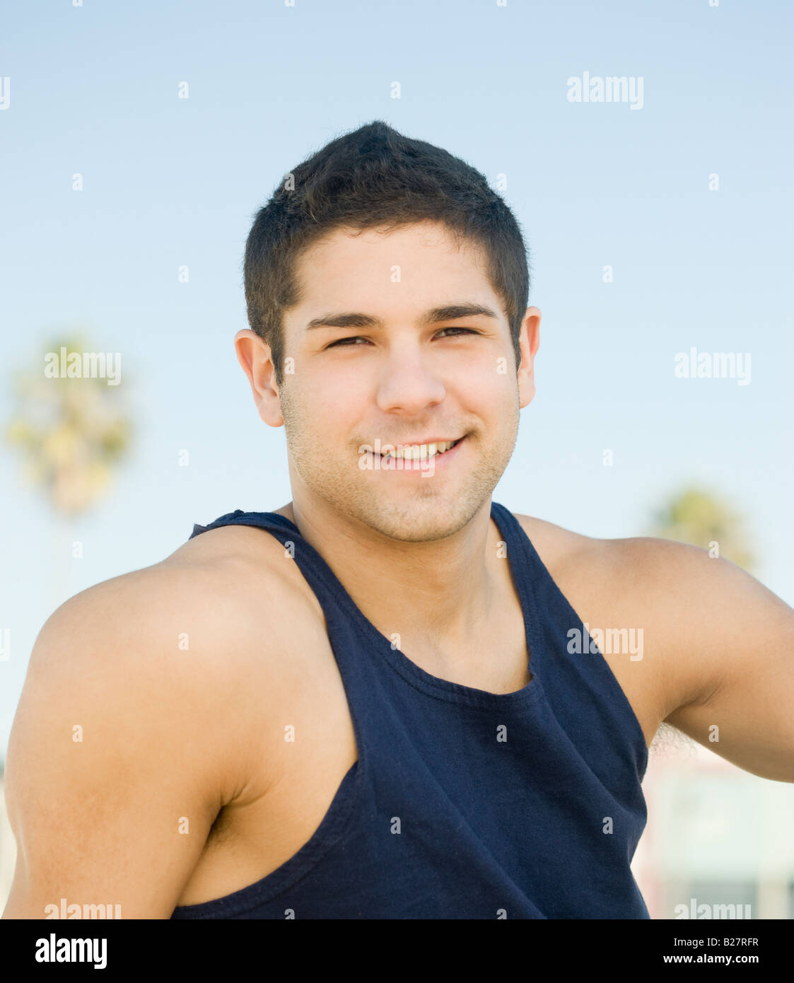 525124b217dc7 Close up of man wearing tank top Stock Photo  18611819 - Alamy
