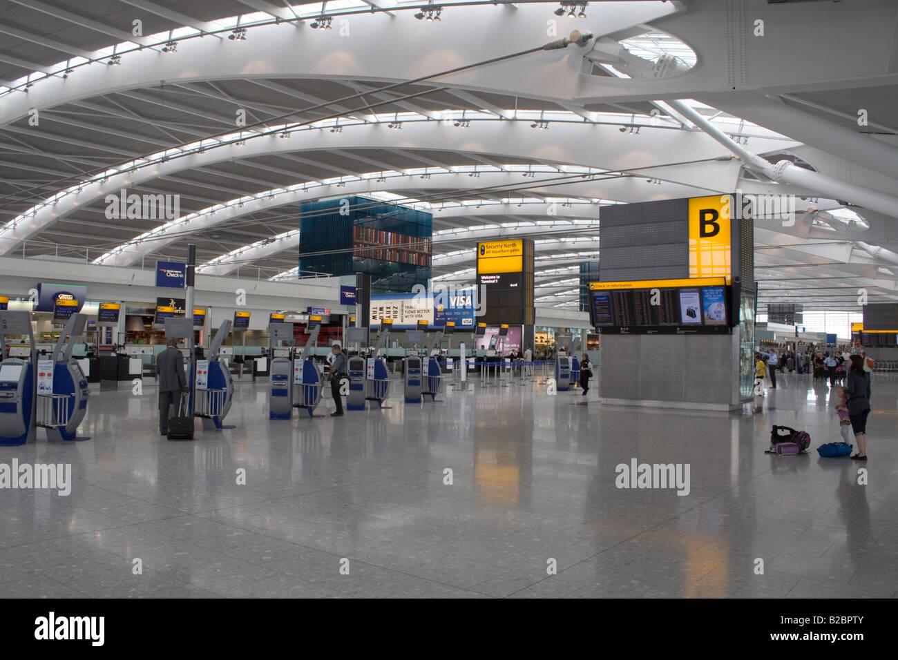 Terminal 5 departures, Heathrow Airport - Stock Image