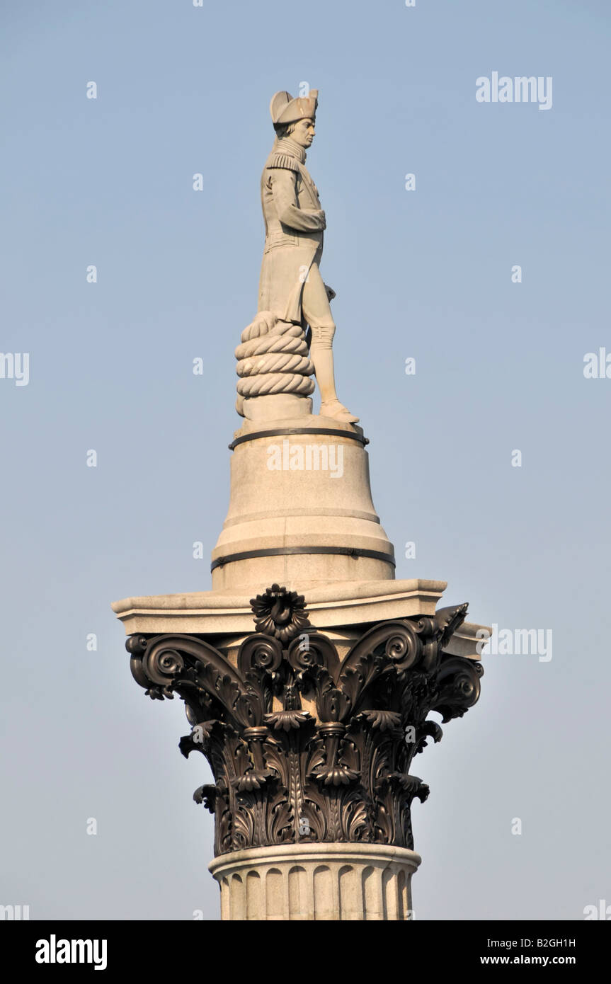 Close up of Horatio Nelson atop his Corinthian column which shows bronze acanthus leaves cast from British cannon - Stock Image