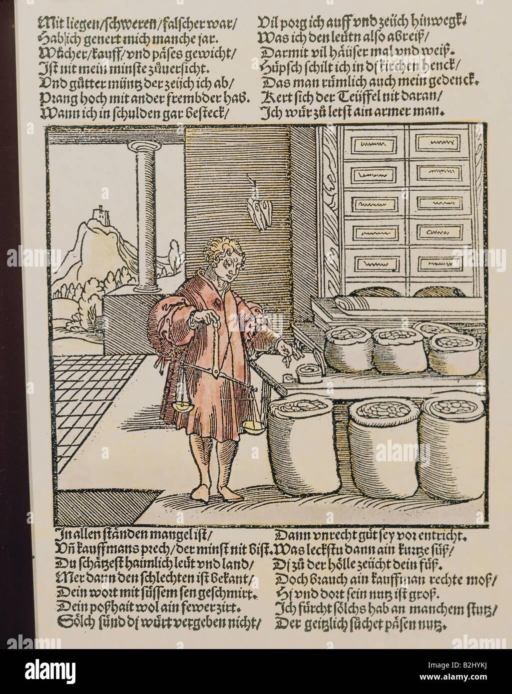 trade, merchants, 'Der betruegerische Kaufmann' (The deceitful merchant) from 'Der Teutsch Cicero' - Stock Image