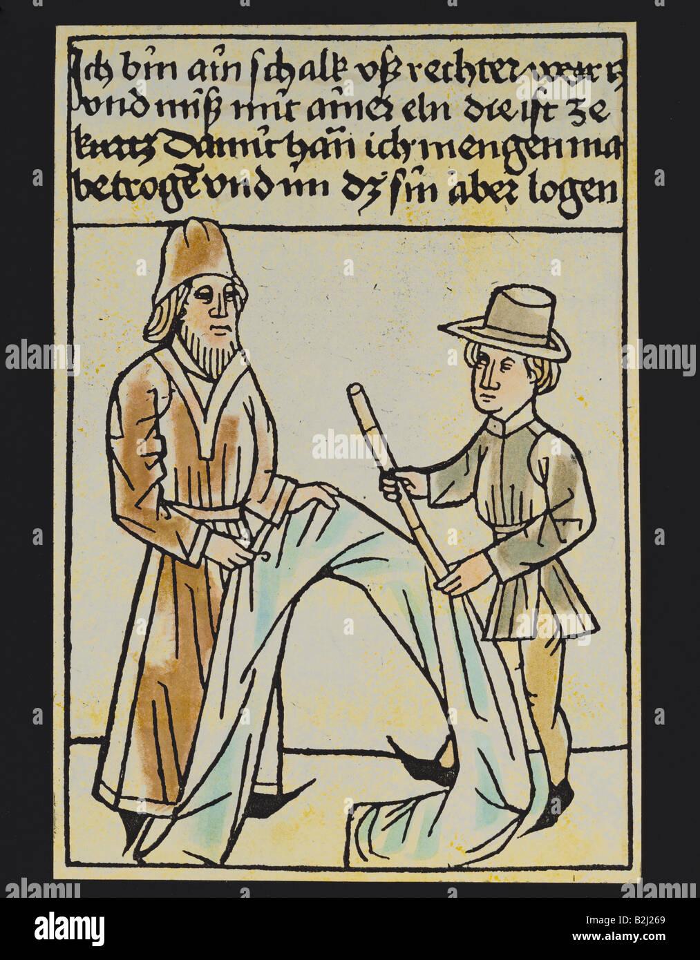 trade, merchants, deceitful draper with too short a cubit, woodcut, coloured, Germany, circa 1470, historic, historical, - Stock Image