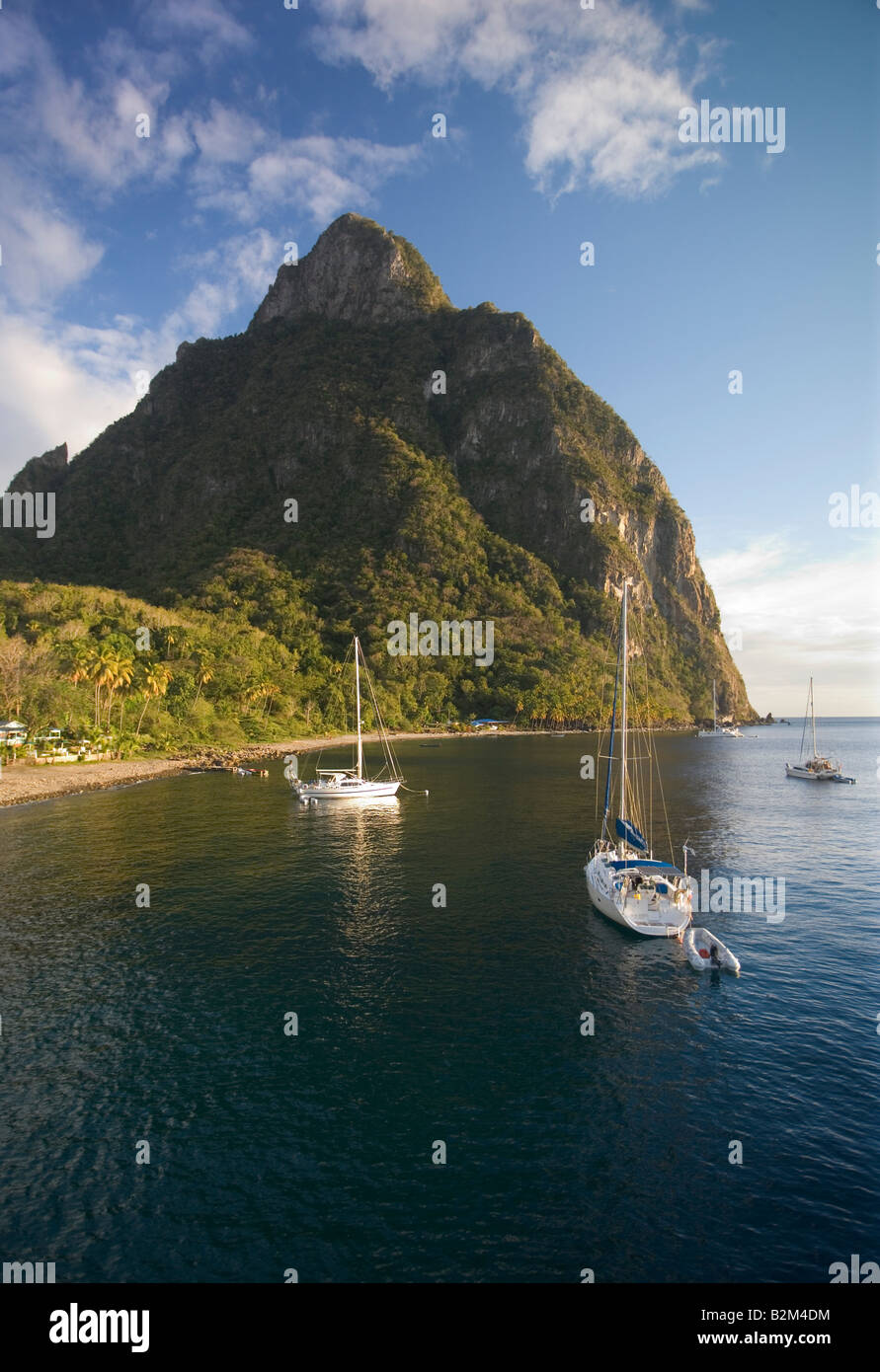 Cruising sailboats anchored below Petit Titon St Lucia West Indies - Stock Image