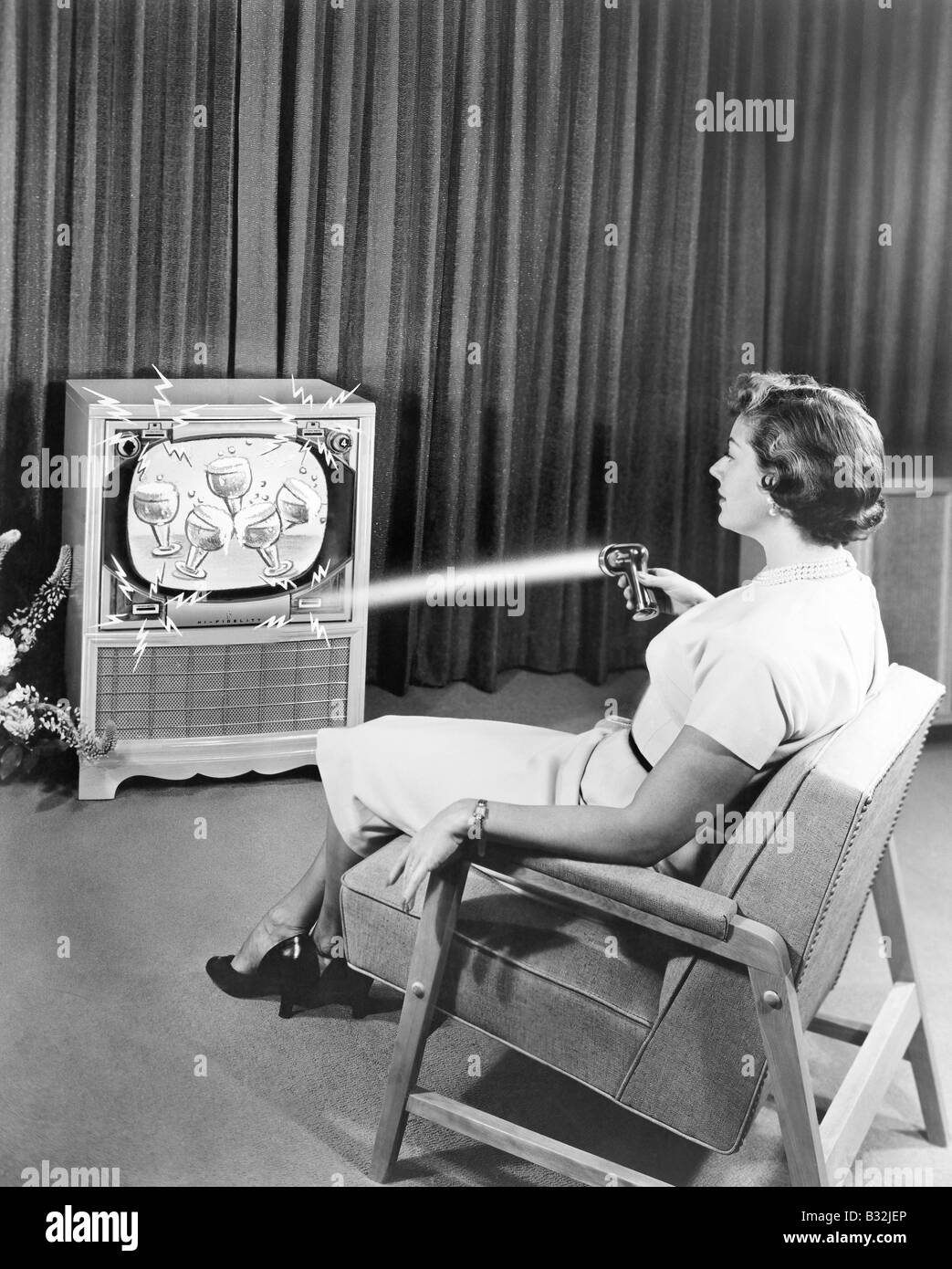 Early Zenith remote control TV set, June 1955 Stock Photo