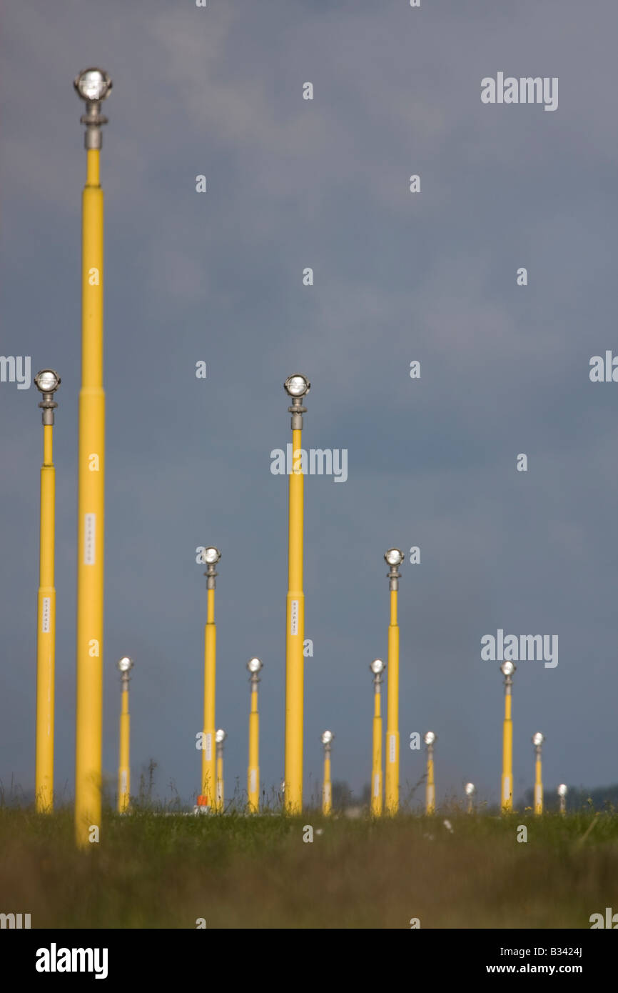 London Heathrow Airport landing lights. - Stock Image