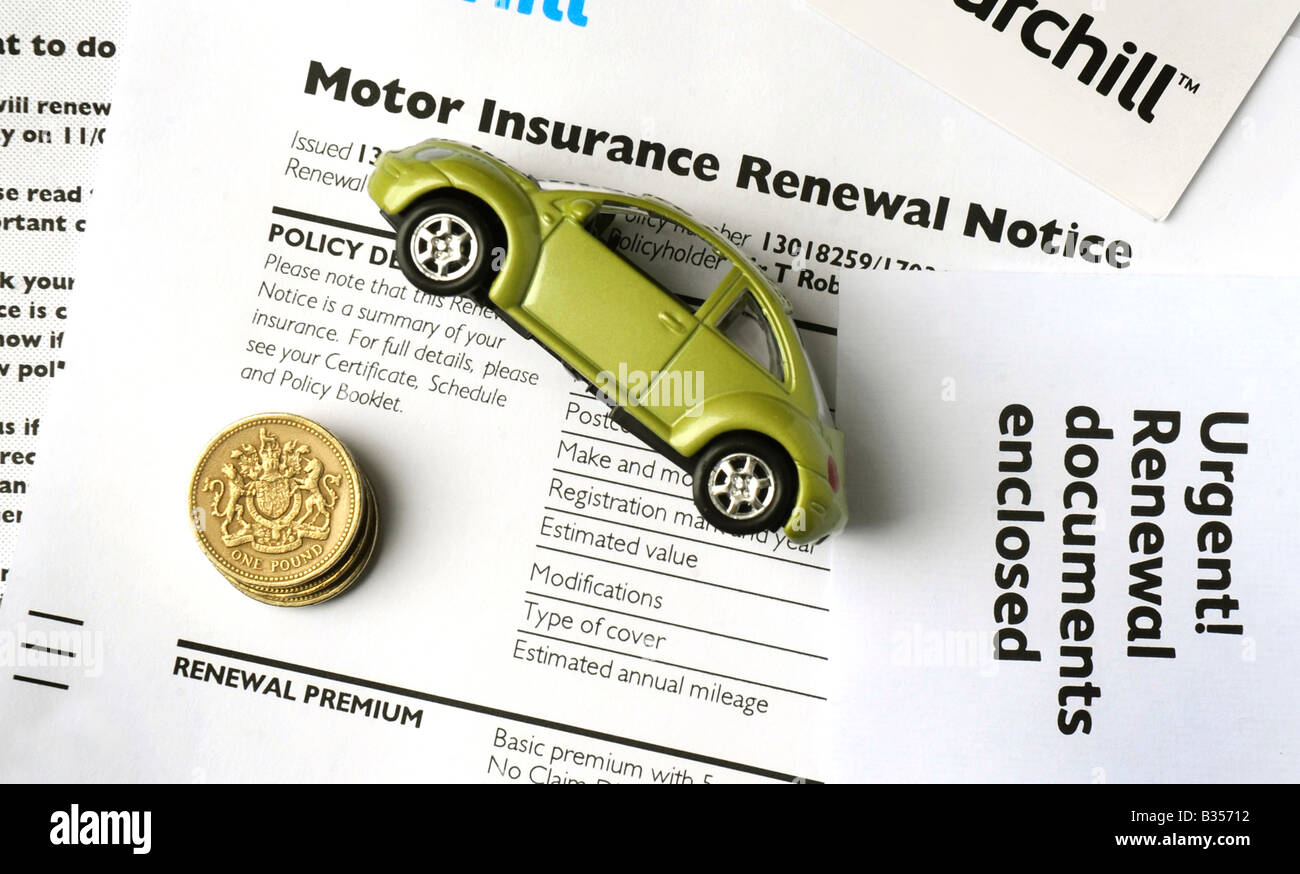 MOTOR INSURANCE RENEWAL NOTICE WITH POUND COINS AND CAR, RE RISING LIVING COSTS HOUSEHOLD BUDGETS INFLATION PRICESStock Photo
