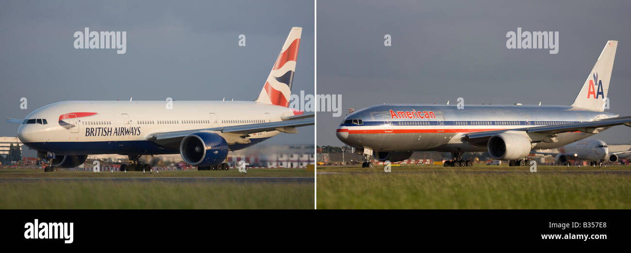 Two planes Boeing 777 of British Airways and American Airlines - London Heathrow, United Kingdom - Stock Image