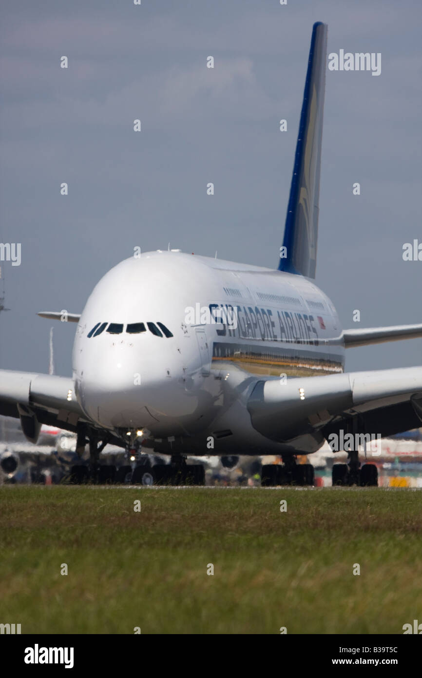 Singapore Airlines Airbus A380 London Heathrow, United Kingdom - Stock Image