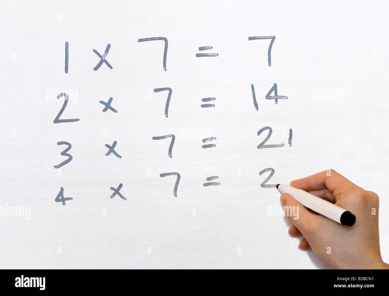 A teacher writing the seven times table on a whiteboard & A teacher writing the seven times table on a whiteboard Stock Photo ...