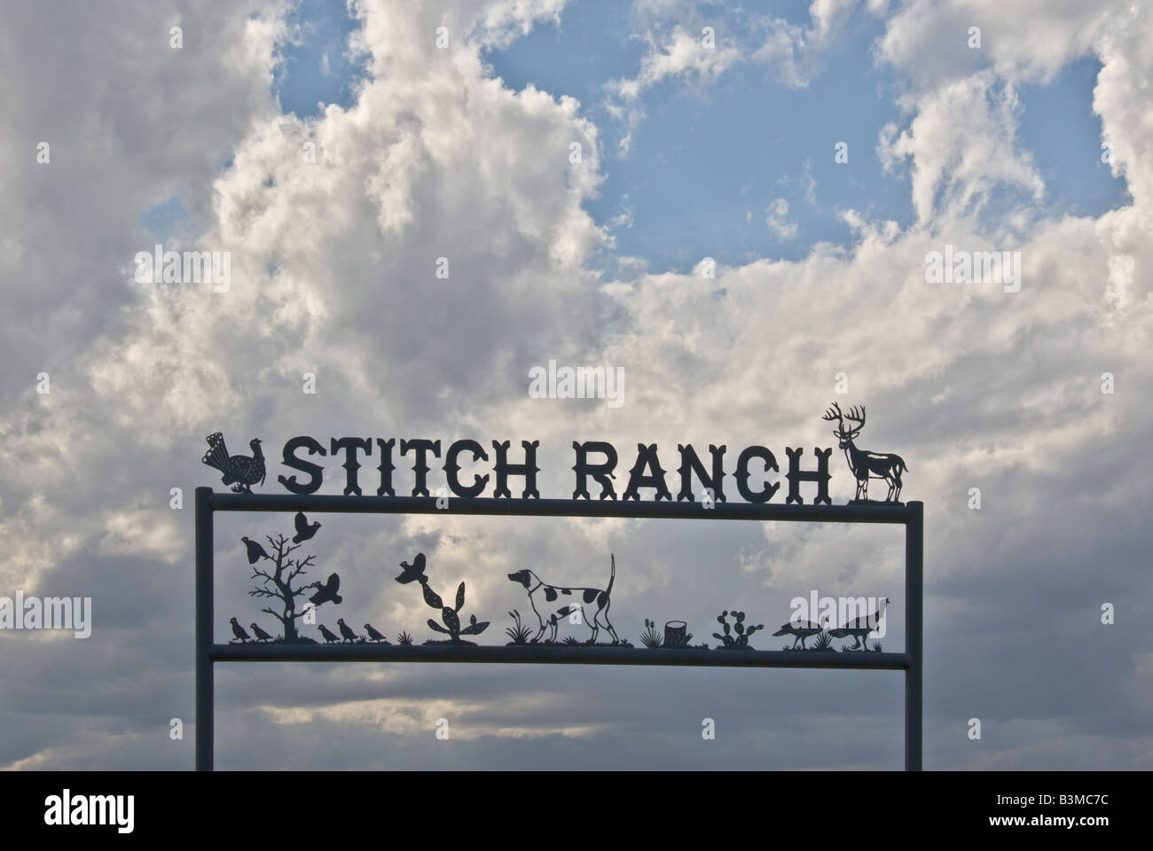 Texas Panhandle Region Stitch Ranch sign - Stock Image
