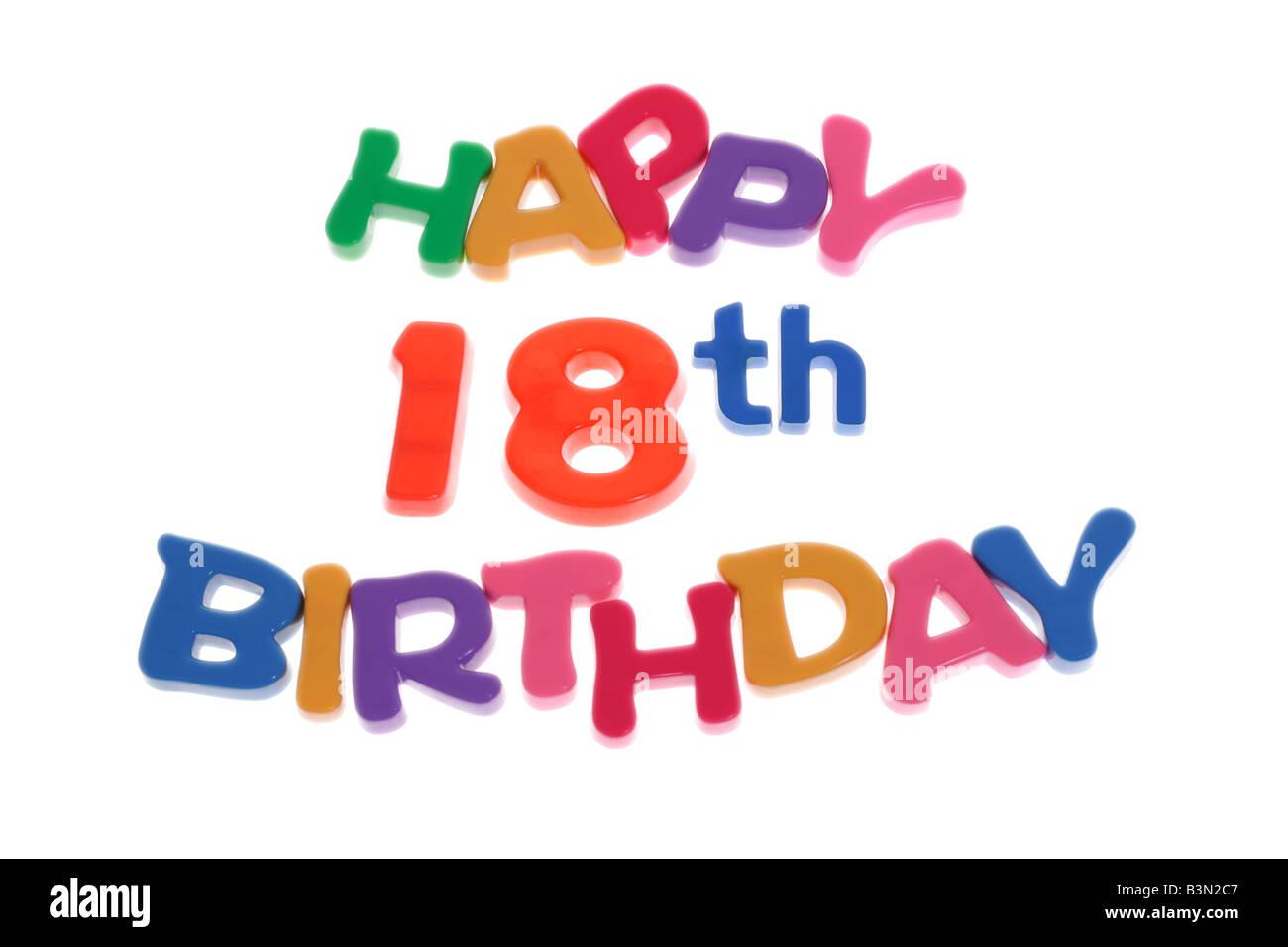 happy 18th birthday letter blocks arranged on white background