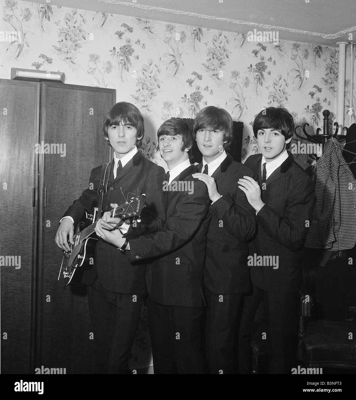 Beatles Files 1964 John Lennon Ringo Starr Paul McCartney George Harrison in their dressing room of the De Monfort Stock Photo