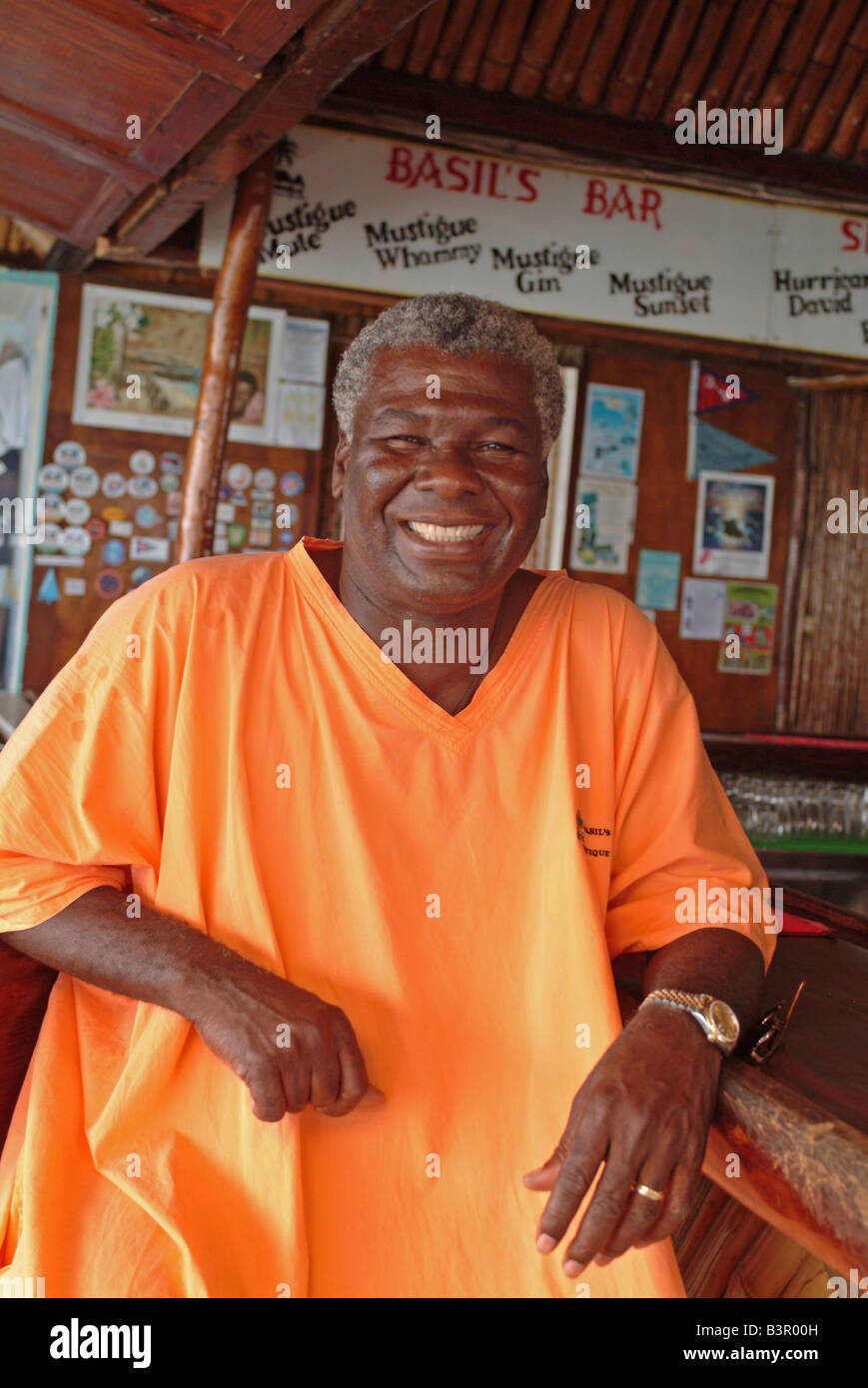 caribbean-west-indies-grenadines-mustique-basil-s-bar-owner-basil-B3R00H.jpg