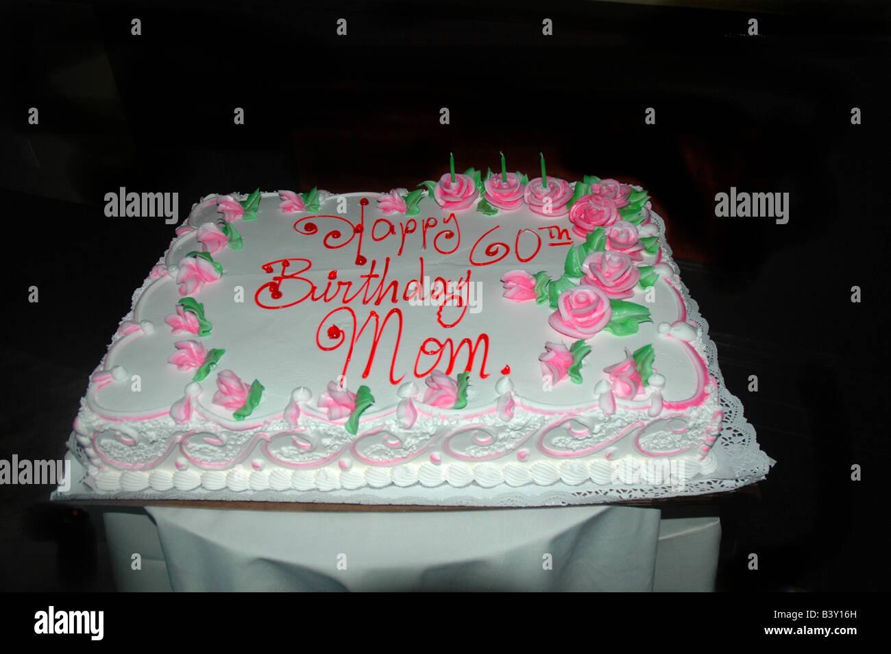 60th birthday cake Happy Birthday Mom Stock Photo 19648009 Alamy