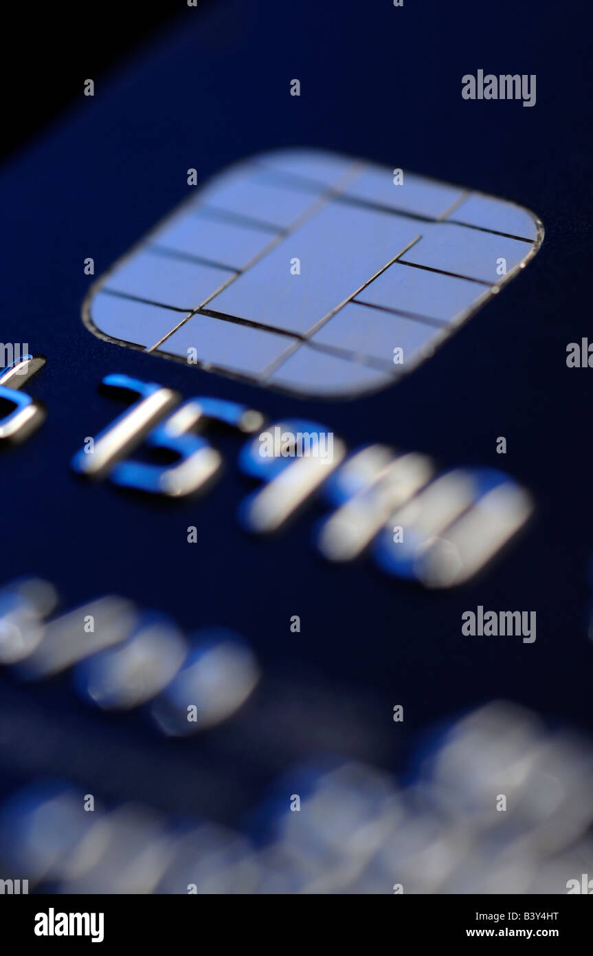 Credit card computer chip - Stock Image