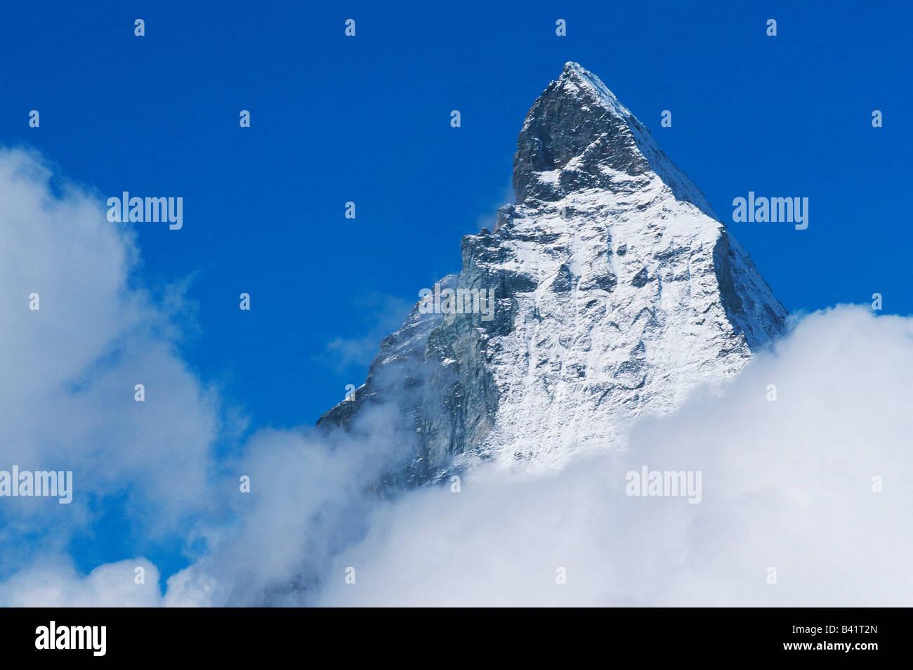 Matterhorn peak Zermatt Valais Switzerland - Stock Image
