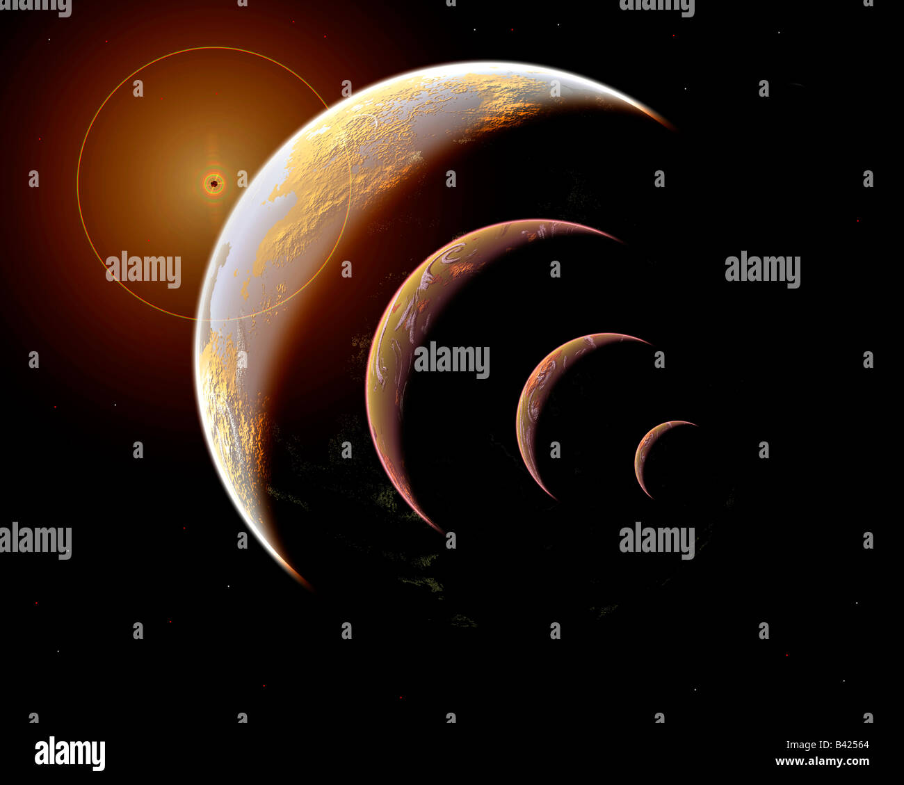Family Of Planets - Stock Image