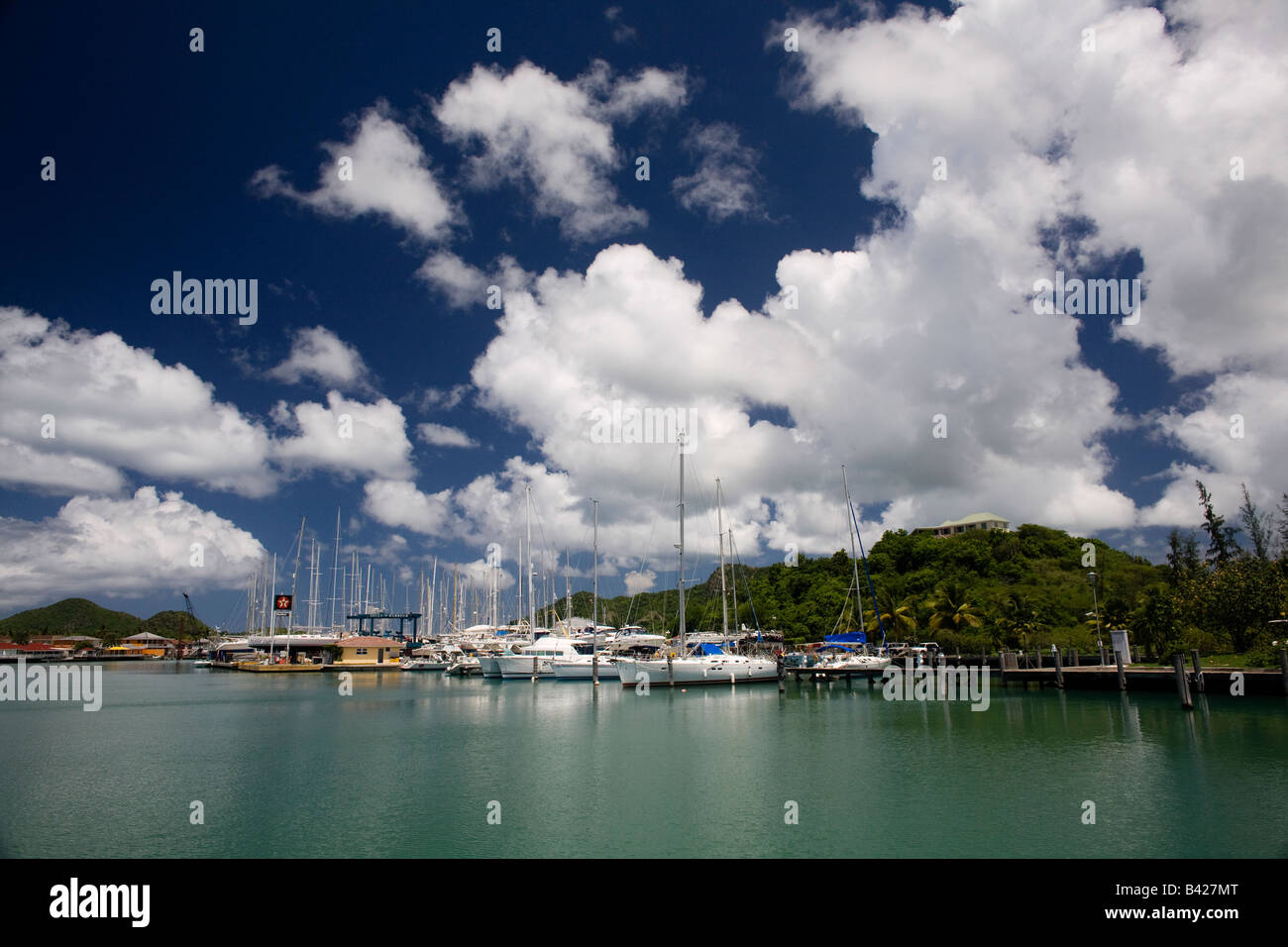 Yachts at anchor in Jolly Harbour Antigua - Stock Image