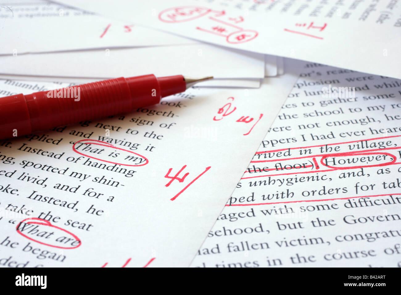 Editing an English language document - Stock Image