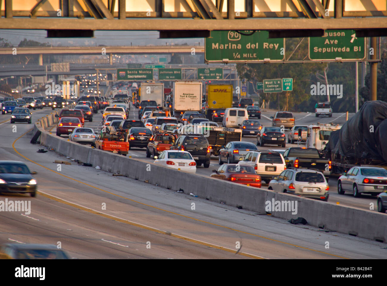 405 freeway I-405 Los Angeles CA, California highway signs bumper to bumper traffic, Stock Photo