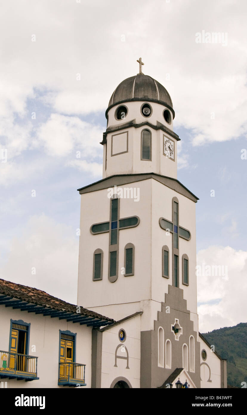 church in the town of Salento, Quindio, Colombia - Stock Image