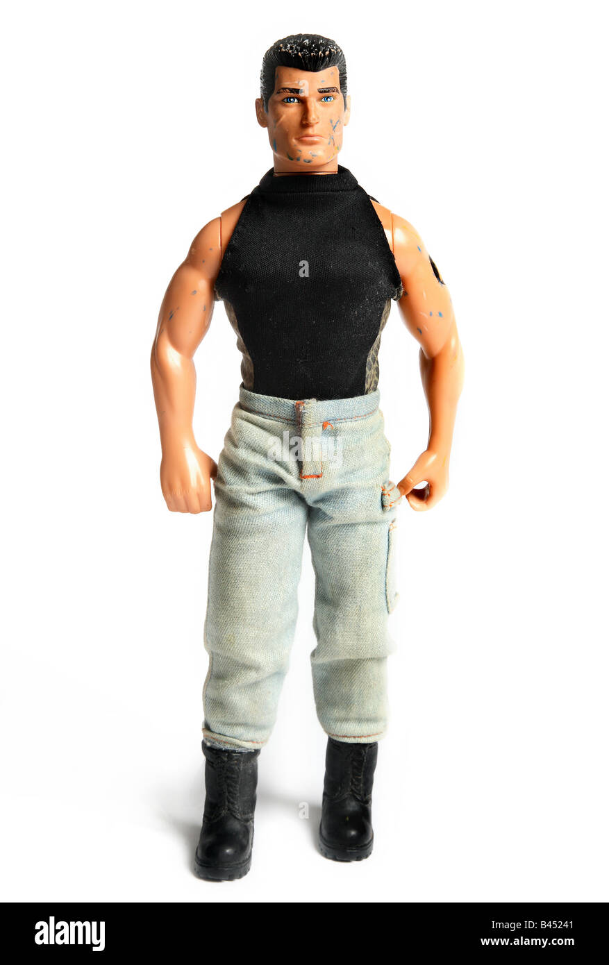 Cut out shot of action man figure wearing a black topStock Photo