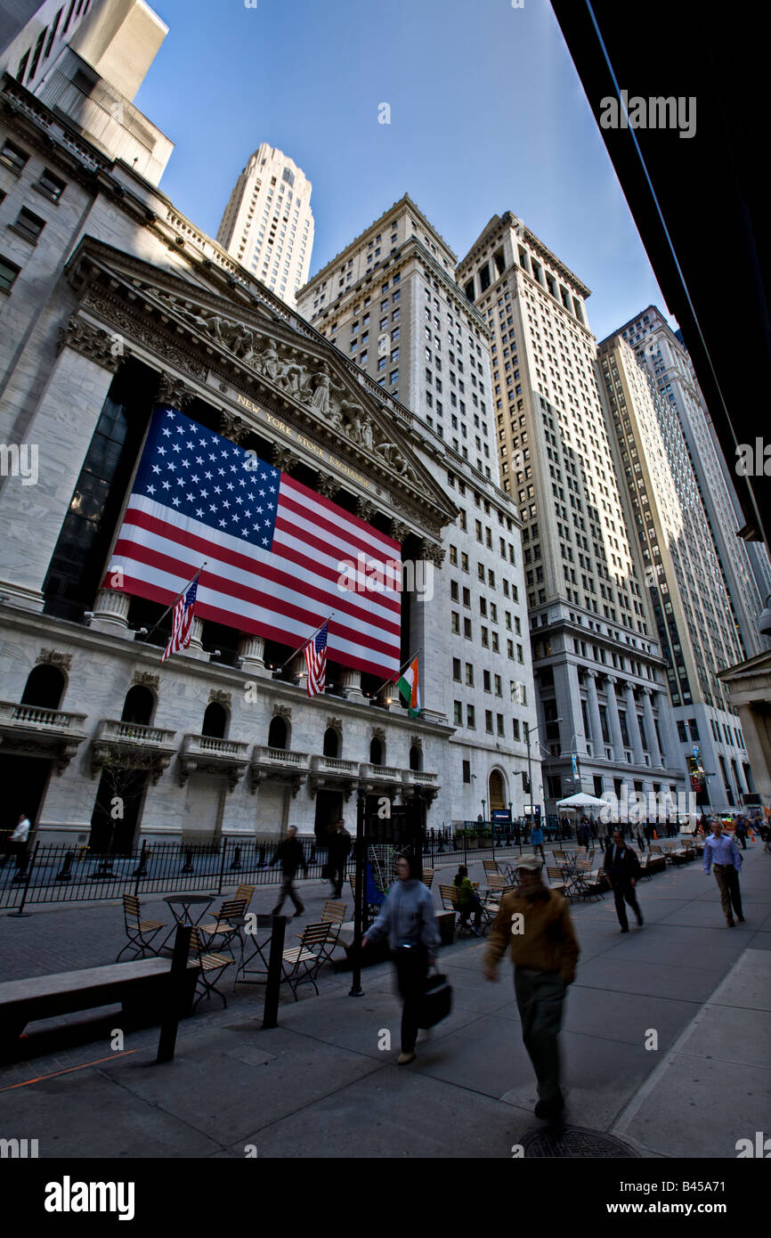 The front of the New York Stock Exchange (NYSE) at Wall Street, New York, New York - Stock Image
