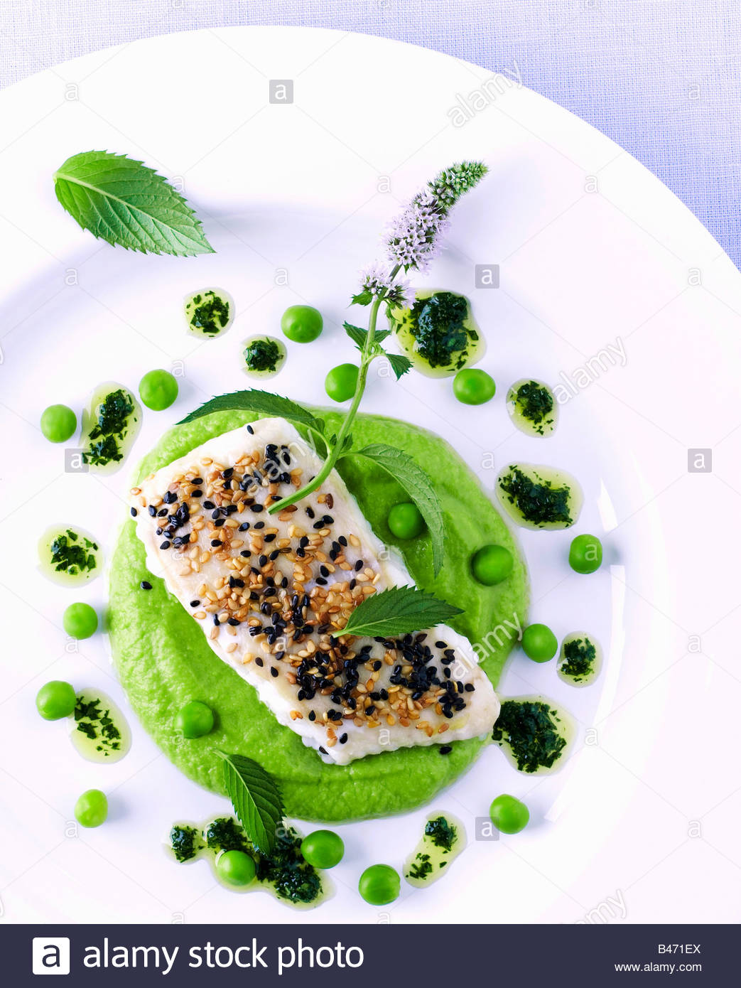 Fish fillet with sesame on pea puree and lime vinaigrette Stock Photo