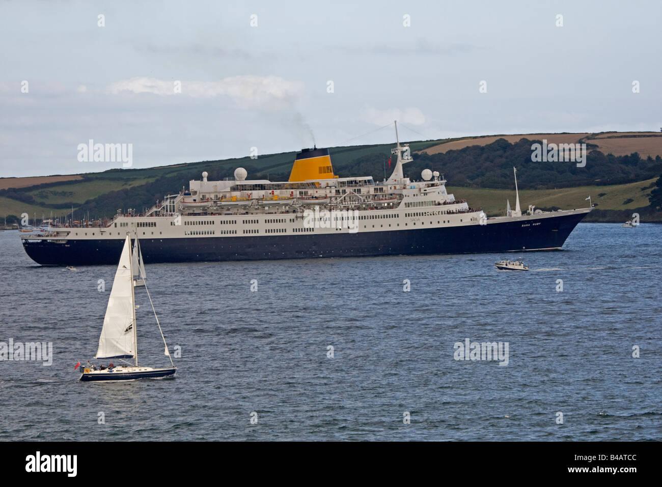Saga luxury cruise ship Pendennis Point Falmouth Cornwall UK - Stock Image
