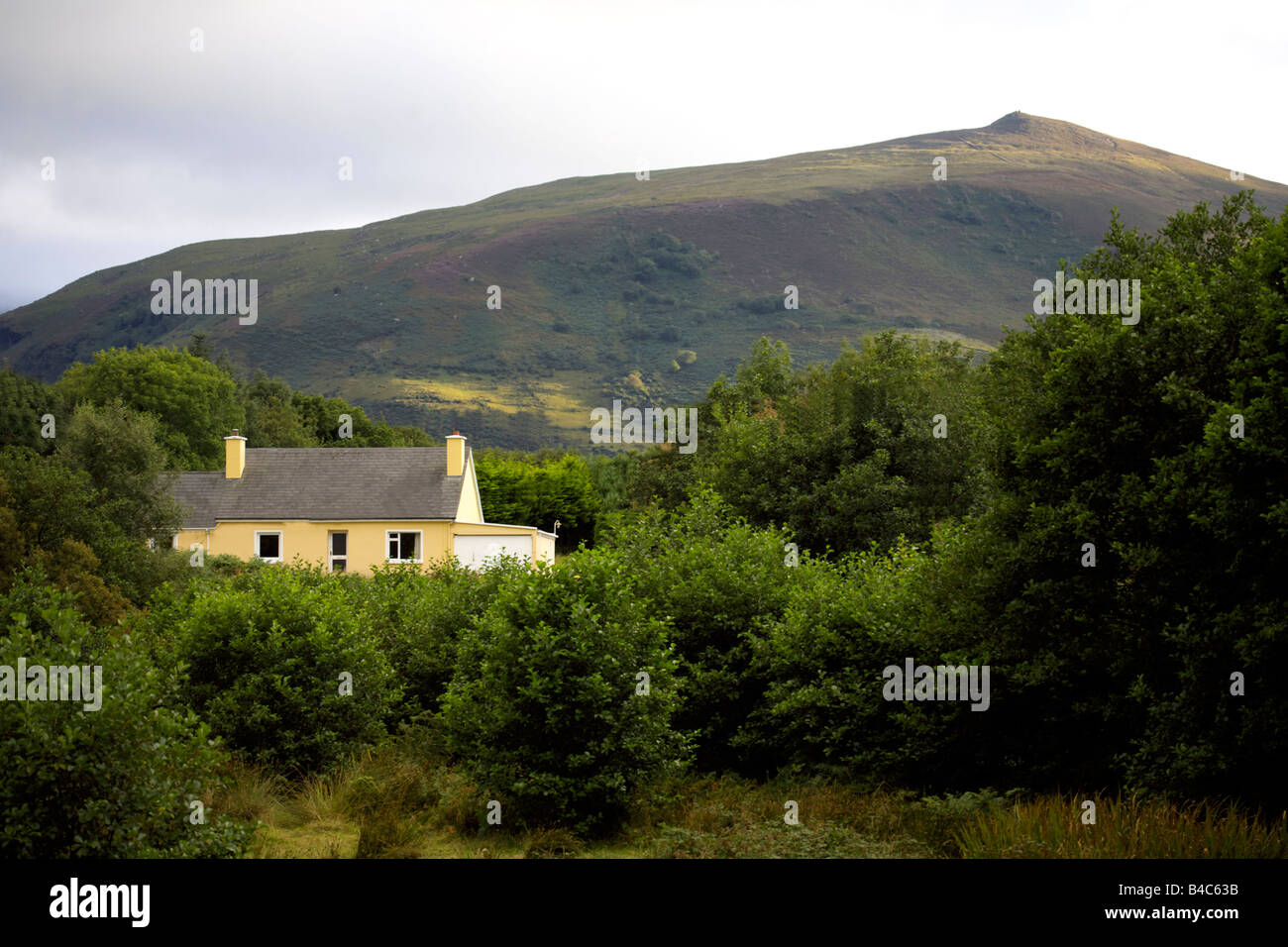 Country cottage in the majestic MacGillycudd´'s Reeks, Killarney National Park, County Kerry, Munster, - Stock Image