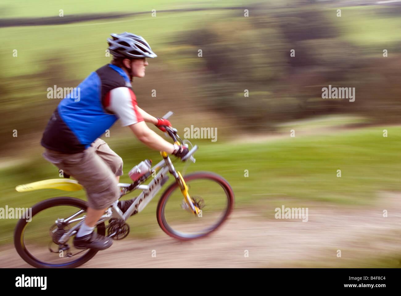Mountain biking Hayfield Peak District National Park Derbyshire England UK GB - Stock Image