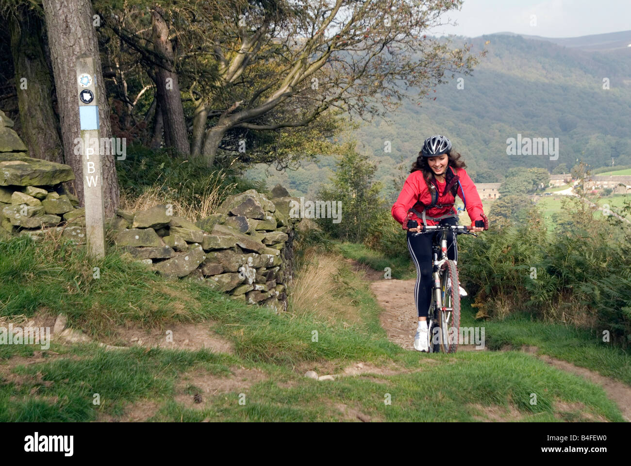 Mountain biking Hayfield Peak District National Park Derbyshire England UK GB Stock Photo