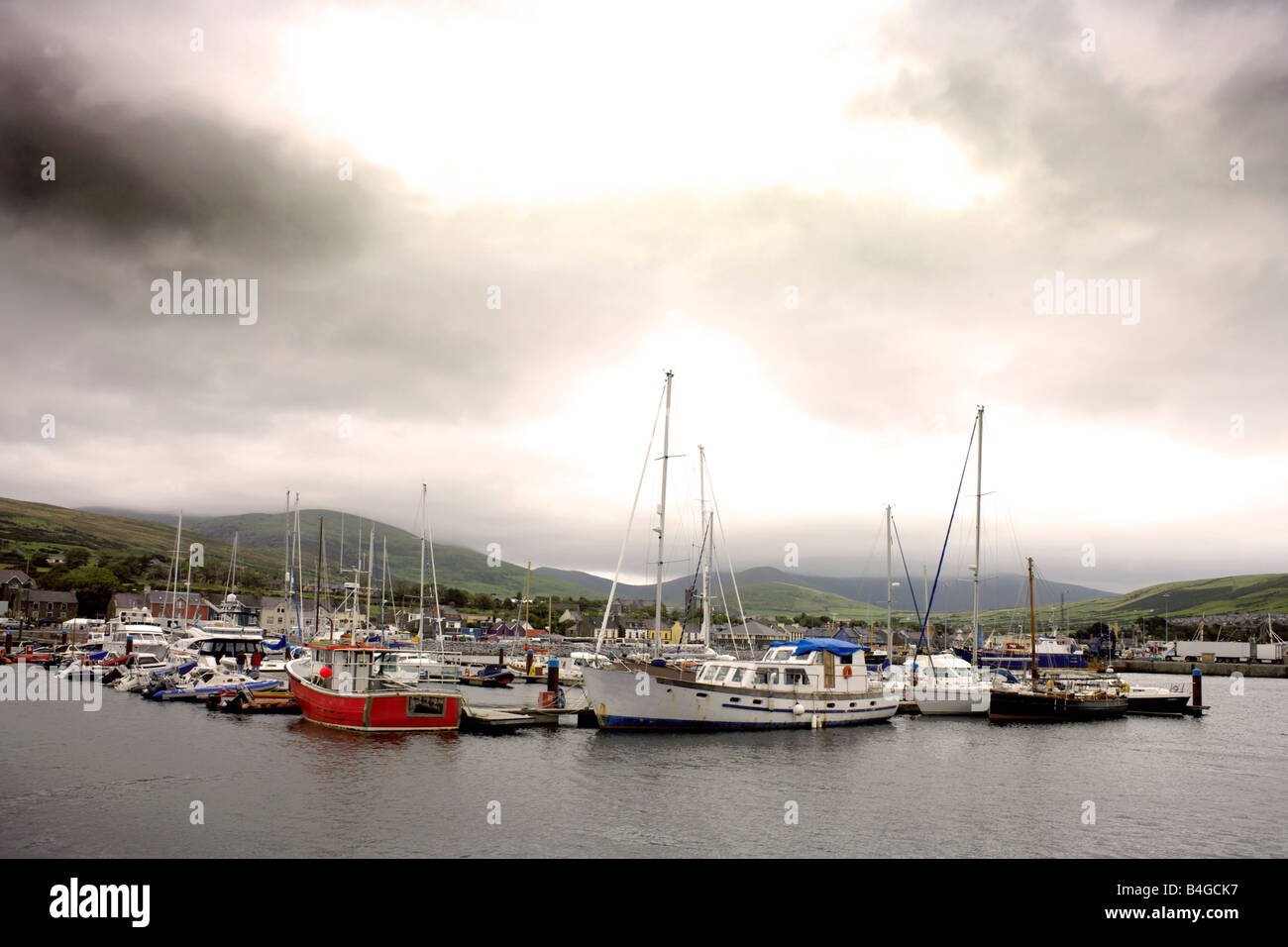 Boats in Dingle Harbour on a stormy day,  Republic of Ireland, - Stock Image