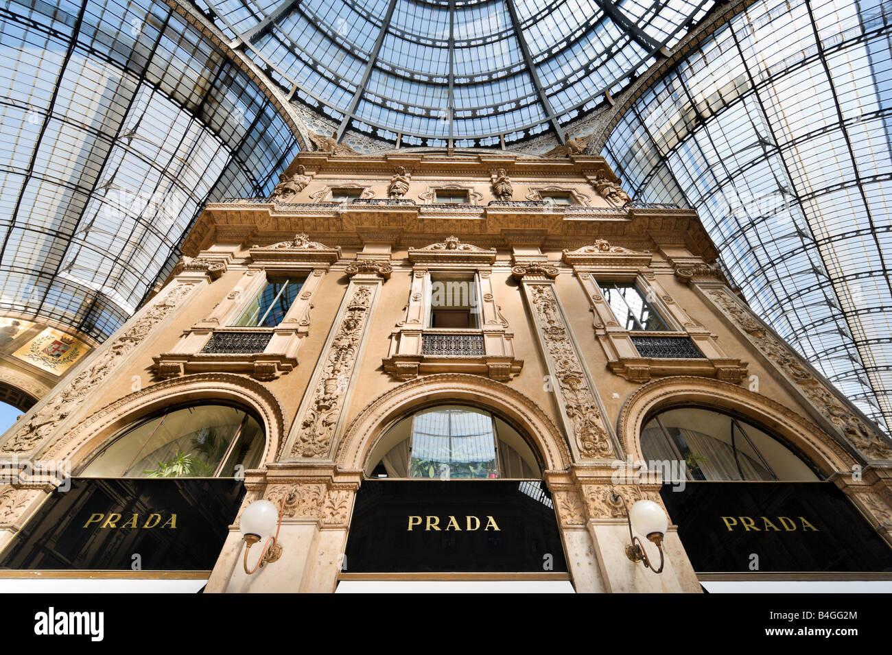 Prada Store in the Galleria Vittorio Emmanuele II, Milan, Lombardy, Italy - Stock Image