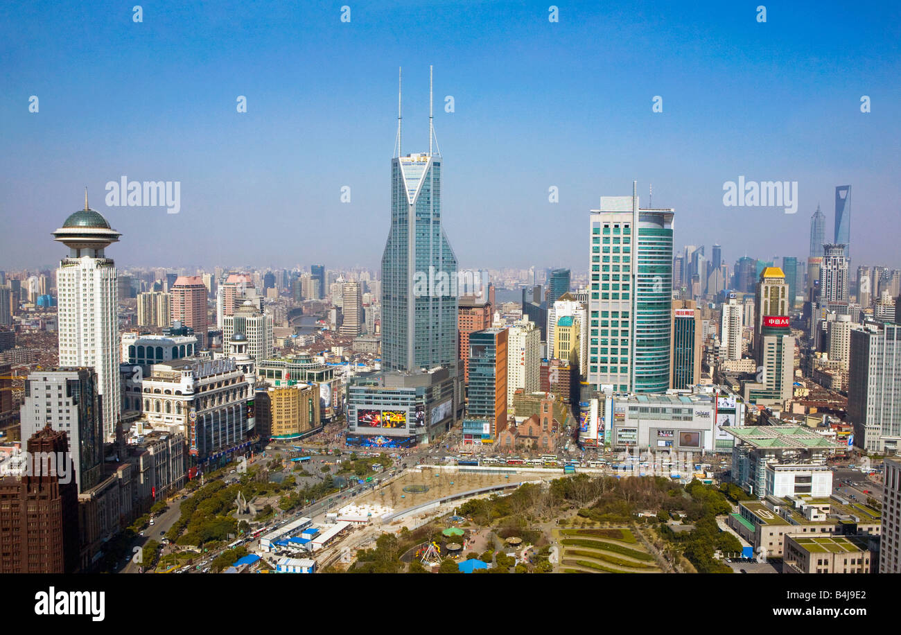 Shanghai, China. Cityscape looking towards Pudong. - Stock Image
